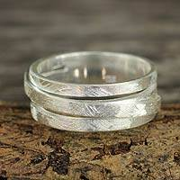 Sterling silver band ring, 'Illusions'