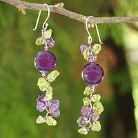 Peridot and amethyst beaded earrings, 'Spring Iris'