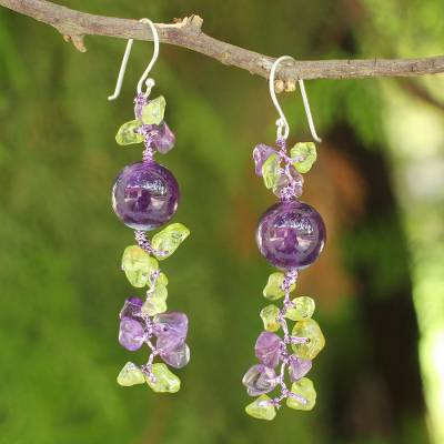 Peridot and amethyst beaded earrings, 'Spring Iris' - Peridot and Amethyst Beaded Earrings from Thailand