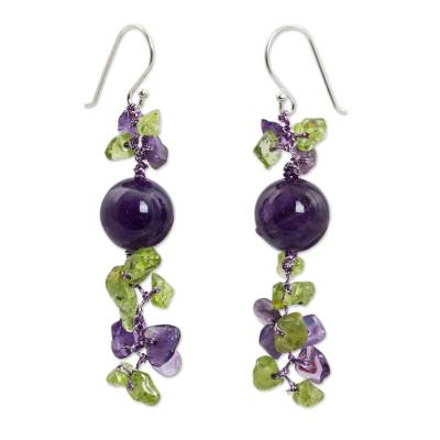 Peridot and Amethyst Beaded Earrings from Thailand