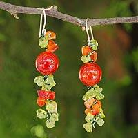 Peridot and carnelian beaded earrings 'Spring Orange' - Peridot and Carnelian Beaded Earrings from Thailand