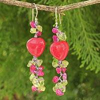 Peridot beaded earrings, 'Heartbeat' - Peridot and Dyed Quartz Beaded Earrings from Thailand