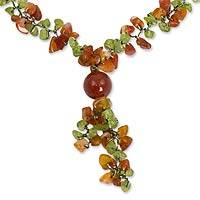 Peridot and carnelian Y necklace, 'Spring Orange' - Peridot and Carnelian Beaded Necklace from Thailand