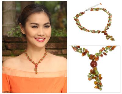 Peridot and carnelian Y necklace, 'Spring Orange' - Peridot and Carnelian Beaded Necklace from Thailand