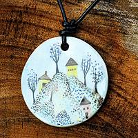 Leather and ceramic pendant necklace, 'Sweet Country' - Leather and Ceramic Hand Painted Necklace
