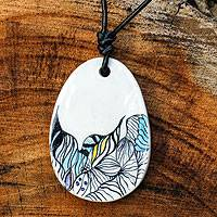 Leather and ceramic pendant necklace, 'Luscious' - Leather and Ceramic Hand Painted Necklace