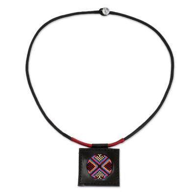 Cross Stitch Cotton and Leather Thai Handcrafted Necklace