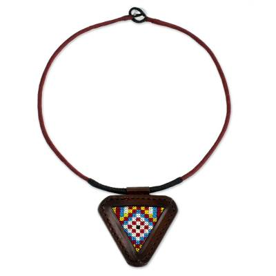 Artisan Crafted Cotton and Leather Necklace