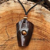 Leather and tiger's eye pendant necklace, 'Wild Nature' - Leather and Tiger's Eye Artisan Crafted Necklace