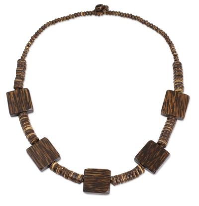 Thai Handmade Coconut Shell Long Beaded Necklace