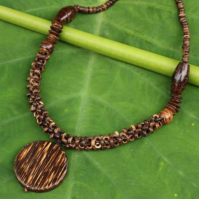 Coconut shell and wood beaded necklace, 'Precious Nature' - Thai Artisan Crafted Coconut Shell and Wood Bead Necklace