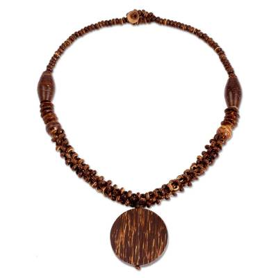 Thai Artisan Crafted Coconut Shell and Wood Bead Necklace