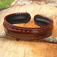 Men's leather cuff bracelet, 'Solar Soul' - Fair Trade Leather Cuff Bracelet for Men