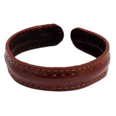 Fair Trade Leather Cuff Bracelet for Men