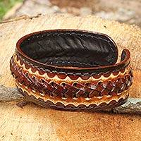 Men's leather cuff bracelet, 'Desert Warrior' - Artisan Crafted Leather Cuff Bracelet for Men
