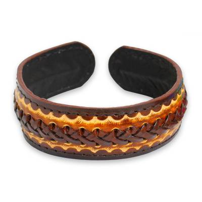Men's leather cuff bracelet, 'Desert Warrior' - Artisan Crafted Leather Cuff Bracelet for Men