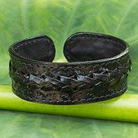 Men's leather cuff bracelet, 'Midnight Warrior' - Handcrafted Men's Black Leather Cuff Bracelet