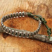 Leather wristband bracelet, 'Star of David Horizons' - Leather and Silver Wristband Hill Tribe Charm
