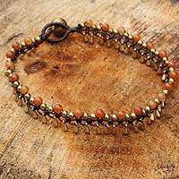 Brass beaded anklet, 'Bright Dancer'