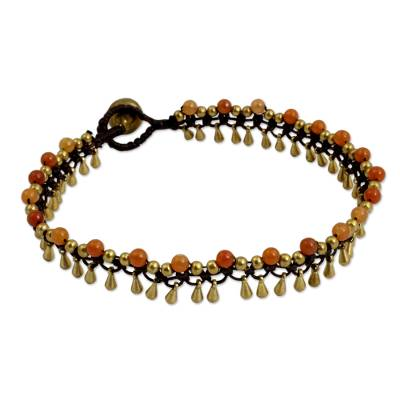 Brass beaded anklet, 'Bright Dancer' - Beaded Quartz and Brass Crocheted Anklet