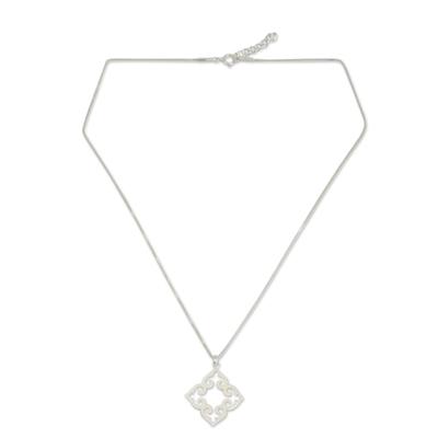 Sterling silver pendant necklace, 'Kaleidoscope Heart' - Fair Trade Sterling Silver Necklace