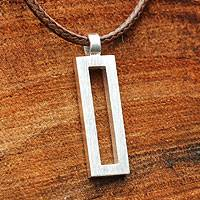 Sterling silver pendant necklace, 'View' - Thai Brushed Silver Necklace