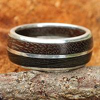 Men's Sterling silver and wood ring, 'Natural Guy'