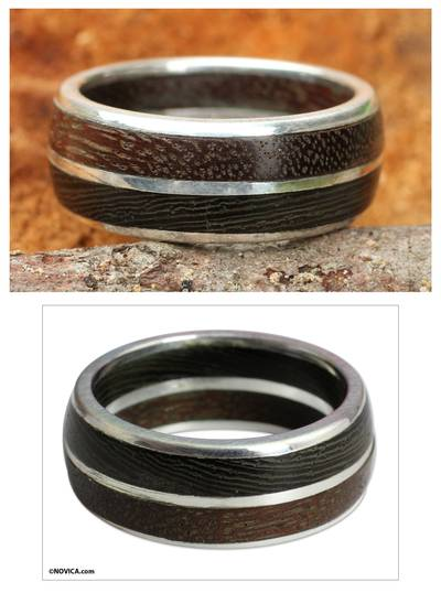 Men's Sterling silver and wood ring, 'Natural Guy' - Men's Wood Band Ring