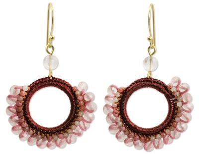 Crocheted Rose Quartz Earrings