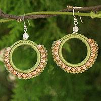 Labradorite and aventurine dangle earrings, 'Divinely Kiwi' - Crocheted Labradorite and Aventurine Earrings