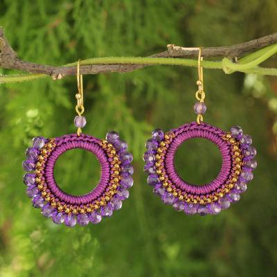 Amethyst beaded dangle earrings, 'Divinely Purple' - Amethyst Crocheted Earrings