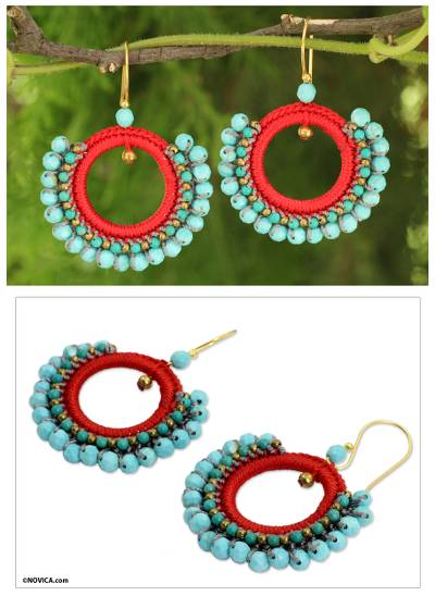 Beaded dangle earrings, 'Divinely Turquoise' - Artisan Crafted Calcite Crocheted Earrings