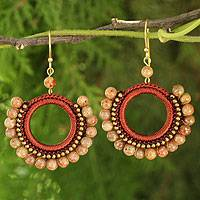 Jasper dangle earrings, 'Divinely Russet' - Handmade Crocheted Jasper Earrings Thailand
