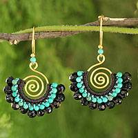 Onyx dangle earrings, 'Liquorice Kiss' - Gold Plated Brass Handcrafted Earrings