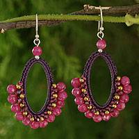 Garnet dangle earrings, 'Flirty Rose' - Crocheted Gemstone Earrings
