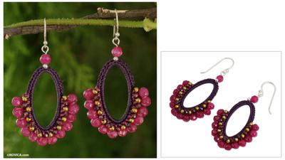 Garnet dangle earrings, 'Flirty Rose' - Crocheted Gemstone Earrings