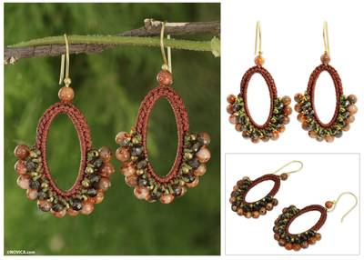 Smoky quartz and jasper dangle earrings, 'Flirty Earth' - Crocheted Smokey Quartz and Jasper Earrings