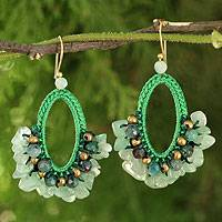 Jasper dangle earrings, 'Flirty Mint' - Crocheted Gemstone Earrings