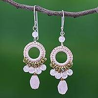 Rose quartz and labradorite dangle earrings, 'Precious Pink' - Crocheted Rose Quartz and Labradorite Earrings
