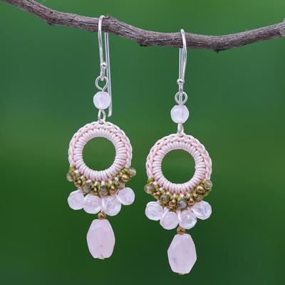 Rose quartz and labradorite dangle earrings, 'Precious Pink' - Crocheted Rose Quartz and Labradorite Earrings