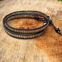 Silver and leather wrap bracelet, 'Hill Tribe Treasure' - Leather and Hill Tribe Silver Beads Wrap Bracelet