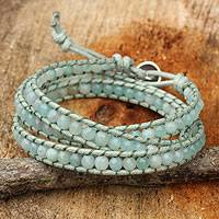 Amazonite wrap bracelet, 'Sunny Flowers' - Amazonite and Hill Tribe Silver Wrap Handcrafted Bracelet