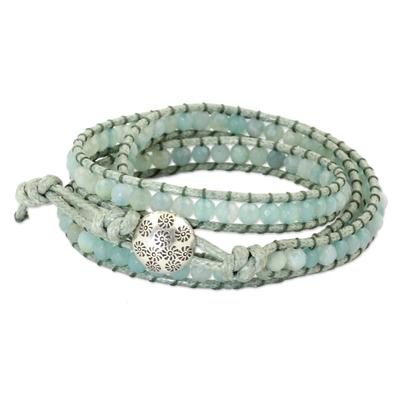 Amazonite wrap bracelet, 'Sunny Flowers' - Amazonite and Hill Tribe Silver Wrap Handcrafted Bracelet