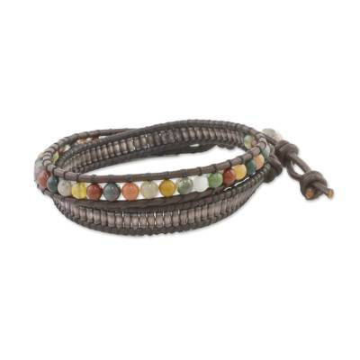 Leather wrap bracelet, 'Brown Contrasts' - Agate Leather Hill Tribe Silver Wrap Handcrafted Bracelet