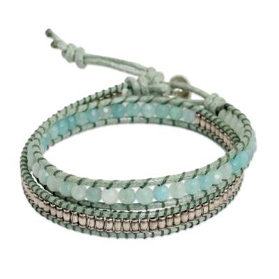 Amazonite wrap bracelet, 'Blue Contrasts' - Amazonite and Hill Tribe Silver Wrap Handcrafted Bracelet