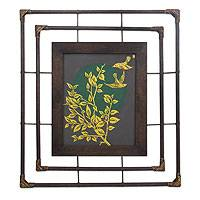 'The Lover' - Framed Thai Golden Bird Painting