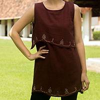 Cotton blouse, 'Layers in Brown' - Embroidered Cotton Sleeveless Blouse