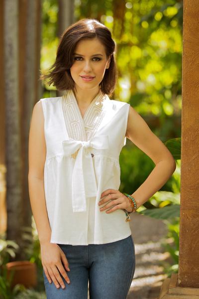 Cotton blouse, 'Relax in White' - Unique Thai Cotton Blouse Sleeveless Top