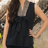 Cotton blouse, 'Relax in Black' - Unique Thai Cotton Blouse Sleeveless Top