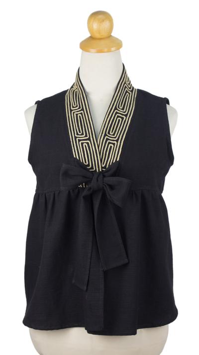 Cotton blouse, 'Relax in Black' - Unique Thai Cotton Blouse Sleeveless Top